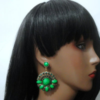 Green Earrings, Vintage Inspired Jewelry,  Chandelier Earrings, Aztec Earrings, Tribal Earrings, Circular Earrings, Earrings, Green, Emerald