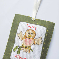 Merry Kiss Mass Bird Christmas Tree Ornament In Green Felt Cross Stitch And Felt Ornament On Satin Ribbon