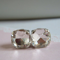 Diamond Crystal Square Stone Stud Earrings