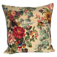 Cushion cover / pillow cover in vintage 1950s Sanderson linen rose print with button fastening 40cm