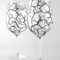 Spring Cherry Blossom Wine GlassesSet of 2 Hand by marywibis