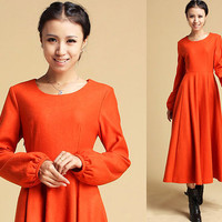 wool maxi dress with Scoop neckline and Long lantern sleeves  (323)