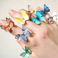 $24.95 PICK 2 Butterfly Rings Adjustable Ring by SpotLightJewelry on Etsy