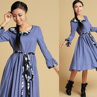 Linen dress with kapok print (367)