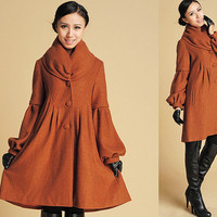 Wool cocoon Coat  with Cute Oversized Cowl neckline  (383)