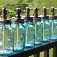 Mason Jar Soap Dispenser with Copper Metal Pump - Blue Quart Jar Lotion Bottle - Mason Jar