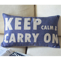 Keep Calm Print Blue Decorative Pillow B [100] : Cozyhere