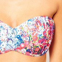 ASOS Garden Floral Gathered Ruched Bandeau Bikini Top at asos.com