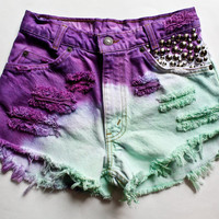 Purple and Mint Ombre High Waisted Denim Shorts Studded  Vintage Levi's Jean Cut Offs