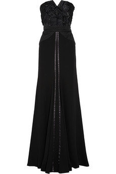 Alberta Ferretti Ribbon-embellished silk-crepe gown - 70% Off Now at THE OUTNET