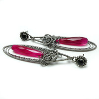 Dangle long sterling silver wire wrapped earrings , hot pink , black studs