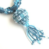 Jewelry Necklace Blue Hollow Beaded Bead