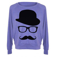 Womens Sweatshirt MUSTACHE Hat Wayfarer Tri-Blend Raglan Pullover - American Apparel Sweater - S M and L (8 Color Options)