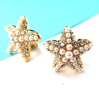 Small Starfish Star Shaped Clip On Earrings in Gold with Rhinestones