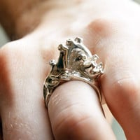 $140.00 Silver Anatomical Heart Ring by heronadornment on Etsy