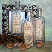Apothecary Bottle Set of 3 by mygardencottage on Etsy