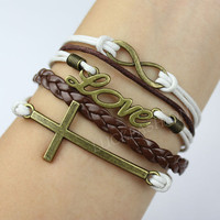 Infinity bracelet - karma bracelet-cross bracelet-love bracelet,leather rope bracelet,gift for friends