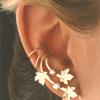 A Pair of Maple Leaves &amp; Cubic Zirconia Long Gold Vermeil Ear Cuff Earrings