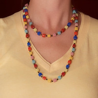 Vintage Multi-colored Glass Bead Necklace