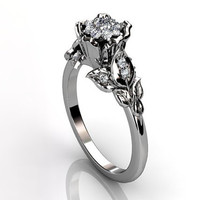 Platinum diamond unusual unique cluster floral engagement ring, bridal ring, wedding ring ER-1036