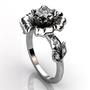 Platinum diamond unusual unique cluster floral engagement ring, bridal ring, wedding ring ER-1035