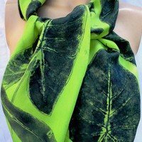 silk crepe scarf Navy Philodenron on Lime painted dyed