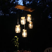 Mason Jar Lighting Mason Jar Chandelier Hanging Swag by BootsNGus