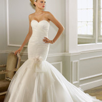 Mori Lee 2012 Bridal Ivory Strapless Organza Over Chantilly Lace Wedding Gown - Unique Vintage - Homecoming Dresses, Pinup &amp; Prom Dresses.