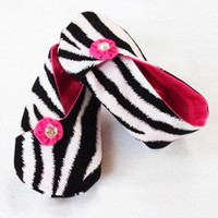 Zebra Kimona Style Crib Shoes