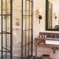 Bath: Factory Windows as Shower Enclosures