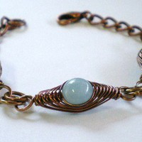 Lapis and Aquamarine Herringbone Copper Bracelet