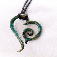 Tribal Heart in bronzed turquoise with customizable cord length