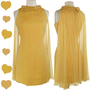 Vintage 60s CHIFFON Cocktail PARTY Prom Dress S Flyaway Bead Sequin Golden SHIFT | eBay