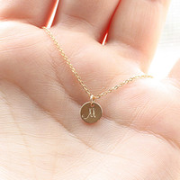 Tiny Gold Initial Necklace, Personalized Hand Stamped Initial Charm, Mother's Necklace, Mom Necklace - 14k Gold Filled, Bridesmaid Necklace