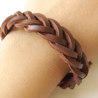 Brown Leather Braided Bracelet with Hemp Cord to Close and Adjustable
