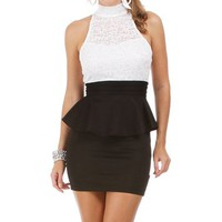 Black and White Lace 2fer Peplum Dress