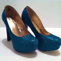 Peacock Teal Glitter Heels -  Sparkle Pumps