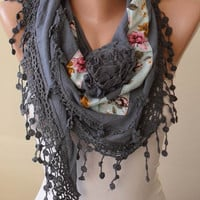 Best Gift for Christmas- Gray Scarf with Flowered Fabric and Trim Edge - Triangular