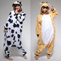 Adult Kigurumi Animal Cosplay Pajamas Costume Halloween Giraffe Cow