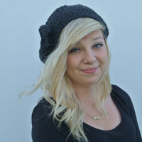 Slouchy Beanie Hat With Bow in Charcoal