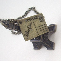 paris Eiffel tower and cute Postcard Necklace - antique Brass