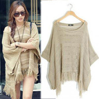 Women Batwing Bat Sleeve Tassels Knitting Knitwear Top Jumper Poncho Sweater New