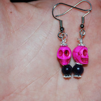 Pink and purple day of the dead skull dangling earrings