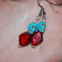 Turquoise and Red Day of the dead skull dangling earrings