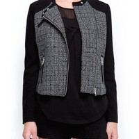 MANGO - NEW! - Check bouclé biker jacket