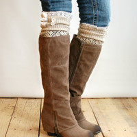 The Lacey Lou Natural Open-work Leg Warmers with ivory knit lace trim &amp; buttons - Legwarmers boot socks (item no. 3-14)