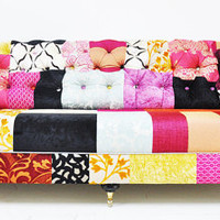 pink chesterfield patchwork sofa by namedesignstudio on Etsy