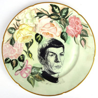 Spock Portrait Plate Altered Antique Plate by BeatUpCreations