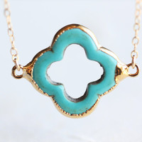 Turquoise Gold Four Leaf Clover Necklace - teal quatrefoil gemstone with 14k gold fill chain