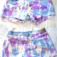 Distressed Mid Rise Purple and Blue Tie Dyed Cut-Offs